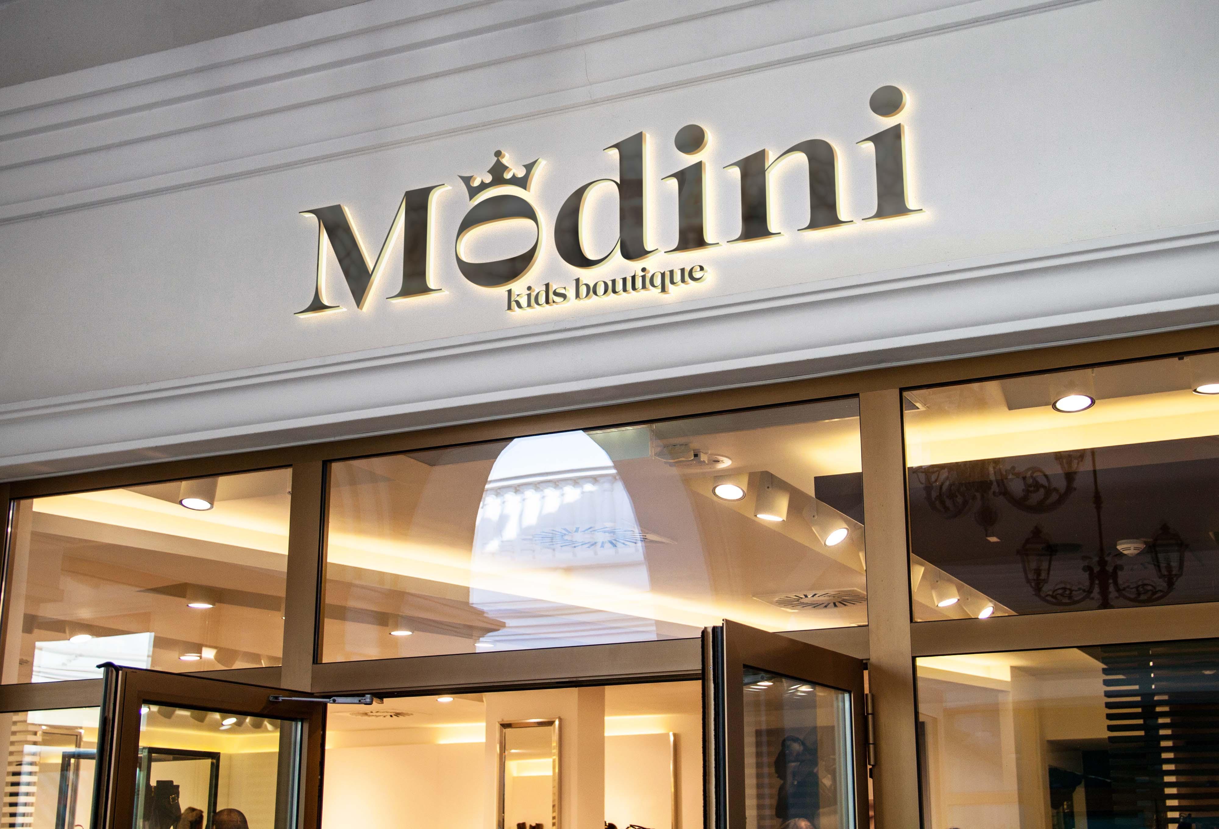 3015ac50a35d Название и фирменный стиль для магазина детской одежды Modini